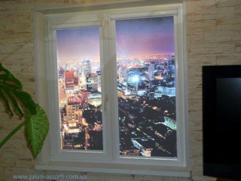изображение тканевая ролета с фото-ночной город